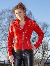 Lackjacke Jacke Rot Biker-Style Nieten Vinyl Größe 32 - 58 XS - XXXL