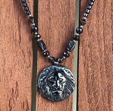 "Hematite Choker Necklace Lion Pendant Jah Love Rasta Africa Reggae Rasta 18""/26"""