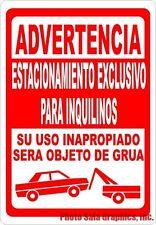 Spanish Sign Advertencia Estacionamiento Exclusivo Para Inquilinos w/Options