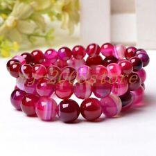 "Gems Beads Bangle Bracelet 7.5"" 6/8/10/12mm Natural Rose Striped Agate Round"