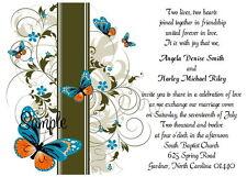 100 Personalized Custom Butterfly Swirl Wedding Invitations Set RSVP Reception