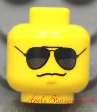 NEW Lego City Police Agents Boy MINIFIG HEAD w/Black Sun Glasses -Dino/Star Wars