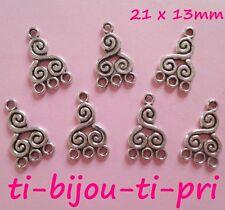 LOT de 10 PERLES CONNECTEURS breloques ARGENTES 21 x 13mm 1 à 3 création bijoux