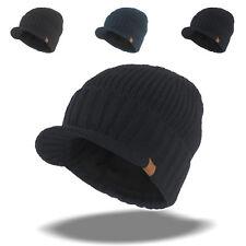 6fbfa77827f8e Men s Winter Wool Blend Visor Brim Beanie with Bill Knit Baseball Cap Skull  Hat