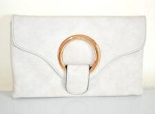 BORSELLO GRIGIO ORO donna borsa pochette eco pelle borsetta bag elegante E200