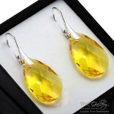 925 Silver Earrings 22mm Pear/Almond Crystals from Swarovski® Light Topaz