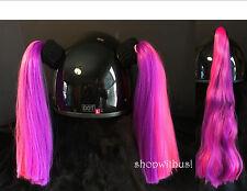 Pink and Purple Helmet Pigtails / Ponytail Motorcycle Skate Bike Snowmobile ATV