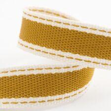 Full Roll 10m Sadle Stitch Cotton Twill Ribbon - Gold - Crafts - Sewing