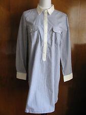 Gap women's blue white striped cotton pocketed shirt dress size S L NWT