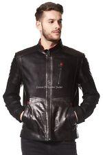 Homme Veste en Cuir Noir Net Motard Moto Style 100% Véritable Cuir D'Agneau Veste