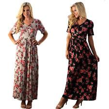 MAXI Womens Floral Chic Vintage Boho Knit Short Sleeves Surplice Dress S M L