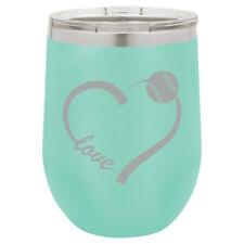 Stemless Wine Tumbler Coffee Travel Mug Glass Love Heart Baseball Softball