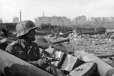 B&W WWII Photo German Soldier Stalingrad PPSh-41  WW2