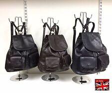 Damen Große Weich Körnige Italienisches Leder Rucksack Zugschnur Bag