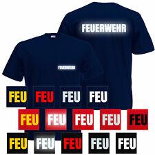 Feuerwehr Herren Unisex T-Shirt - Reflektierender Aufdruck Brust & Rücken S-5XL