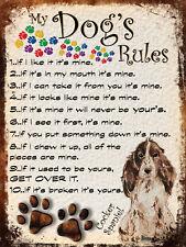 MY DOG'S RULES RETRO STYLE METAL TIN SIGN/PLAQUE COCKER SPANIEL THEME