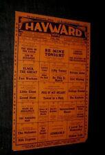 HAYWARD THEATRE 1933 LAUREL HARDY Buck Jones FAY WRAY Joe E Brown BARRYMORE More
