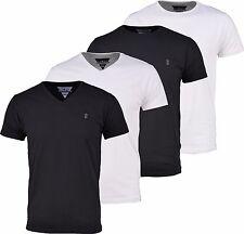 Soulstar Redondo Para Hombre de Diseñador Llano Lycra/Camiseta de cuello en pico, negro/blanco. BNWT