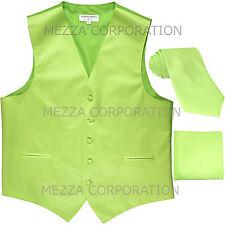 New Men's Vesuvio Napoli Tuxedo Vest Necktie Hankie set prom party Lime Green
