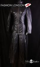 Mesdames « TRINITY pleine longueur » noir Long manteau de matrice Veste gothique en cuir véritable