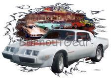 1979 White Pontiac Trans AM Custom Hot Rod Diner T-Shirt 79 Muscle Car Tees