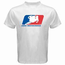 New AMA Motorcross Racing Logo Men's White T-Shirt S M L XL 2XL 3XL