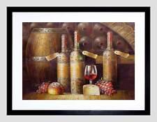 PAINTING FOOD DRINK KITCHEN WINE CELLAR BLACK FRAMED ART PRINT PICTURE B12X12105