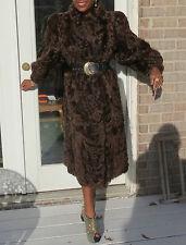 New Unique Full length brown Broadtail lamb Fur Coat Jacket Stroller S-M 4-12