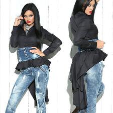 FOGGI Damenbluse Bluse Tunika T-Shirt Longshirt Oberteil schwarz 34-38 #F450