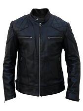 Mens Black Leather Jacket Biker Moto Lambskin Jacket Slim Size S M L XL XXL TBLC