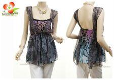 Victorian Renaissance Silk Lace Chiffon Forget-Me-Not Blouse Shirt Tank Top 1234