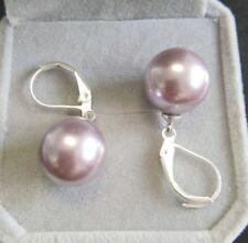 8/10/12/14mm Purple  Round south sea shell pearl Silver Hook dangle earrings AAA