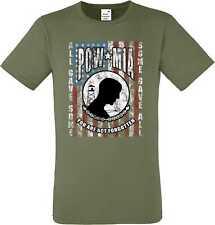 T shirt dans olivton avec un motard-, Chopper - & Old schoolmotiv modèle pow mia Fla