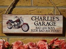 GARAGE SIGN MOTORBIKE SIGN OWN WORDING SIGN GIFT HARLEY SUZUKI KAWASAKI DUCATTI