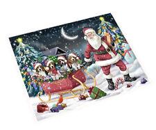 Merry Christmas Santa Sled Beagle Dogs Woven Throw Sherpa Blanket T288
