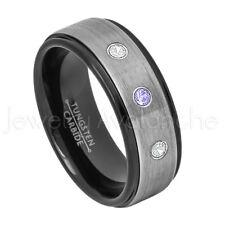 Tungsten Ring, 0.21ctw Tanzanite & Diamond 3-Stone Ring December Birthstone #678