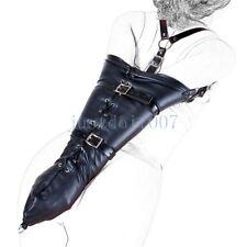Fetish Leather Costume Restraint Straitjacket Armbinder Straps Handcuffs belt