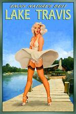 Lake Travis Texas New Original Travel Poster Marilyn Pin Up Art Print 224