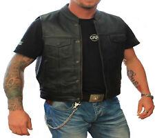 Hommes Gilet moto en cuir  taille manteau veste motard Homme motard Gilet cuir