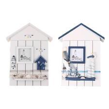 Mediterranean Style House Shape Wooden Key Holder Wall Hanging Storage Box CA