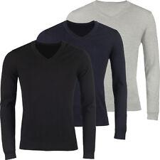 New Mens V Neck Jumper Soft Cotton Pullover Knitted Plain Designer Sweater Top