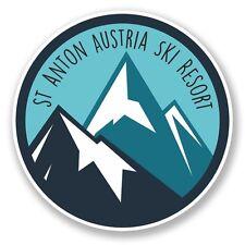 2 X ST ANTON TIROLO AUSTRIA SCI SNOWBOARD Adesivo Vinile PORTATILE DA VIAGGIO AUTO #6434