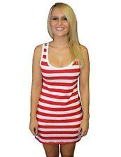 niña/mujer rojo y Blanco Rayas Largo Camiseta sin mangas Disfraz