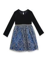 RARE EDITIONS® Little Girls' 4, 5 Holiday Printed Tulle & Velvet Dress NWT $72
