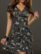 Sexy Miss V Dekollete Mini Kleid Kurzarm schwarz weiß Dress 34 TOP