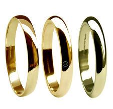 2mm 9 ct Oro Amarillo Alianzas Forma De D Perfil GB HM Medio Pesado X Bandas