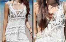 New White Crochet Dress Coverup Boho Hippy Casual Beach Womens Bohemian Party