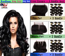 3 Bundle Indian BODY WAVE Virgin Remy Human Hair FREE Lace CLOSURE Set 7A