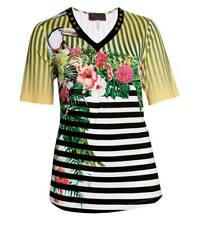Sempre Piu ❤ kurzarm Shirt Damen Gelb Blumen und Loch-Nieten große Damen Größen