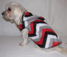 Red White Black Grey Chevron Fleece Hoodie Dog Puppy Pet Clothes XXXS - Large